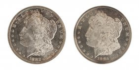 Two Morgan One Dollar Coins
