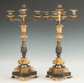 French Patinaed Metal & Marble Candelabras
