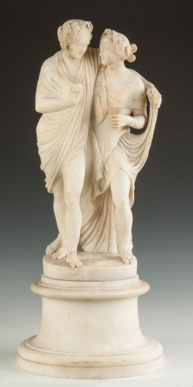 Alabaster Sculpture Of Two Women