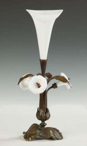 Art Nouveau Bronze & Blown Glass Lily Vase