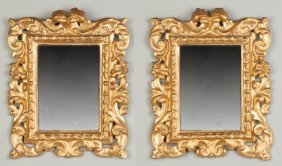 Pair Of Carved & Gilded Diminutive Italian Mirrors