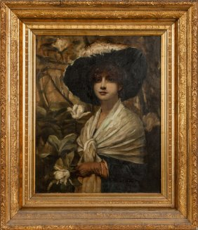 Portrait Of A Lady With Fancy Hat