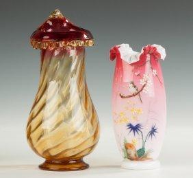 Amberina Vase & Victorian Cased Glass Vase