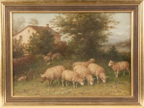 George Riecke (american, 1848-1930) Sheep In Pasture