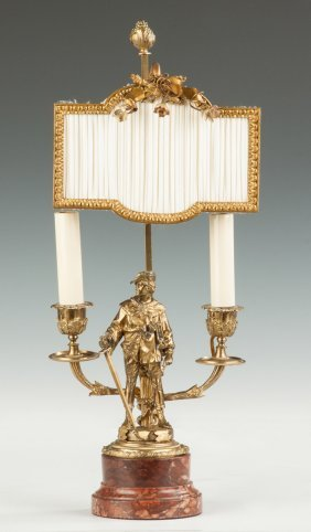 French Patinaed Brass & Marble Two-light Sconce