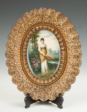 Painting On Porcelain Of A Young Lady With Lute