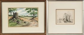 W. Ralph Murray Watercolor & George Renouard Etching