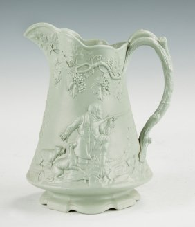 English Saltglaze Molded Relief Pitcher