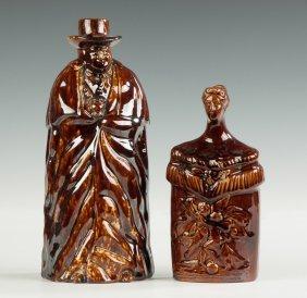 Bennington & Rockingham Figural Flasks