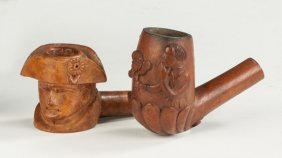 Carved Briarwood Figural Pipes