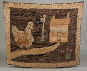 Hooked Rug With A Chicken And House