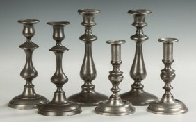 Group Of Pewter Candlesticks
