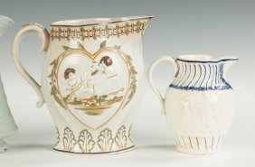 Two Pearlware Pitchers