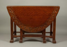 Carved Drop-leaf Gate-leg Table