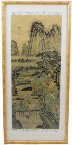 ASIAN SILK TABLE SCREEN PANEL FRAMED