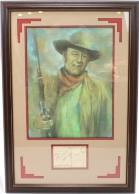 JOHN WAYNE GICLEE WITH SIGNED POSTCARD