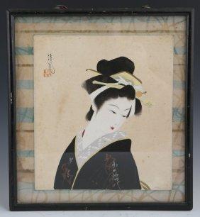 UNKNOWN TEMPERA JAPANESE GEISHA