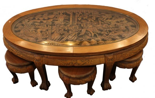 Asian Dragon Hand Carved Coffee Table W 6 Stools Lot 38127b
