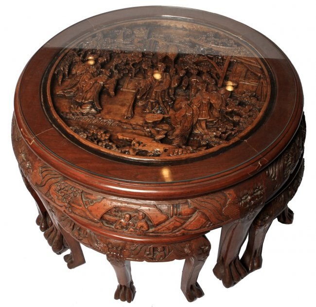 HAND CARVED CHINESE COFFEE TABLE WITH FOUR STOOLS : Lot 39643