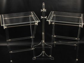 Pair Of Lucite Portable Dinner Tables
