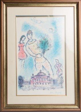 Marc Chagall Dans La Ciel De L' Opera Lithograph