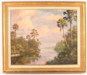 Albert Backus Oil Painting - Florida Landscape