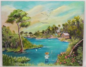 Acrylic On Board Wetland Scene Signed Rochelle