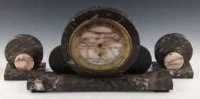 Art Deco (3) Piece Marble Mantle Clock Set