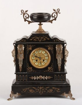 Black Slate Mantle Clock By Ansonia