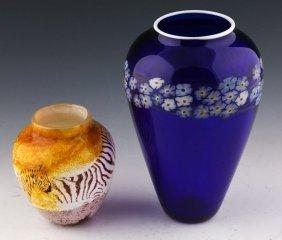 2 Paul Crosbie Studios Art Glass Vases Signed