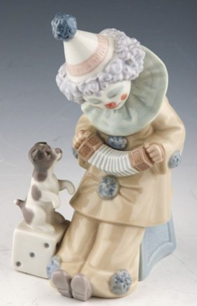 Lladro Pierrot Clown With Puppy And Concertina