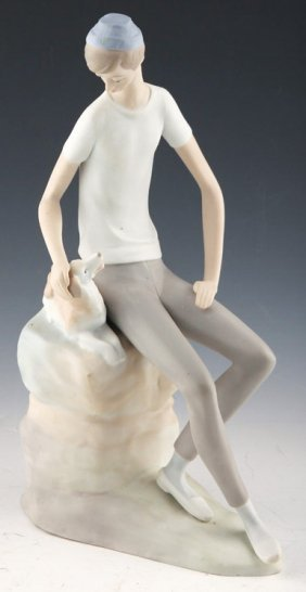 "Lladro Nao ""boy With Dog"""