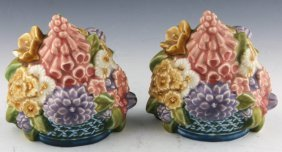 Pair Rookwood Pottery Flower Basket Bookends