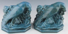 Pair Of Rookwood Art Pottery Rook Bookends