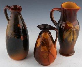 3 Rookwood Pottery Cruet & Ewers 1894 1897 1899