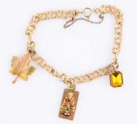 Ladies 10k Yelow Gold Charm Bracelet