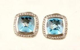 Sterling Blue Topaz Diamond David Yurman Earrings