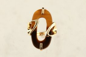 14k Yellow Gold Oval Tiger's Eye Ring