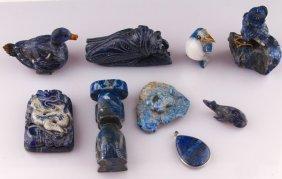Lot Of 9 Lapis Lazuli Animal Carvings & Pendant