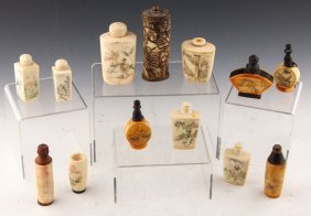13 Chinese Bone Carved Snuff Bottles