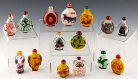 15 Peking Glass Chinese Snuff Bottles