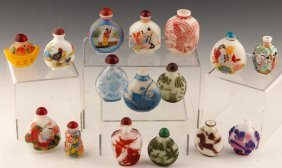 16 Chinese Peking Glass Snuff Bottles