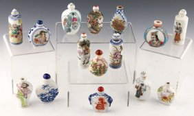 15 Chinese Painted Porcelain Snuff Bottles