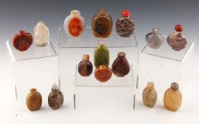 15 Chinese Stone Snuff Bottles