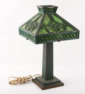 Green Slag Glass Lamp With Metal Base