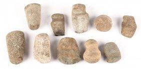 10 Native American Stone Celts Pestles Grinders