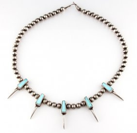 Navajo Sterling & Turquoise Bear Claw Necklace