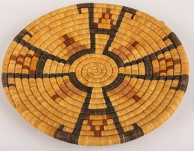 Mid 20th C Hopi Coiled Basketry Plaque