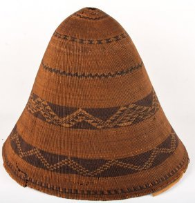 Early 20th C Pomo Conical Burden Basket