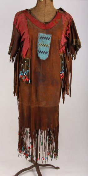 19th C Native American Buckskin W Beads Dress